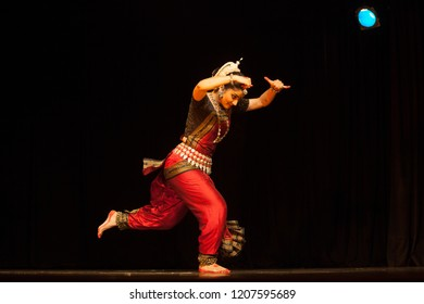 A highly talented junior Odissi dancer sees a bull during the Odissi evening recital event on October 19,2018 at Bharatiya Vidhya Bhavan in Bengaluru,India