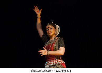 A highly talented junior Odissi dancer looks in anger during the Odissi evening recital event on October 19,2018 at Bharatiya Vidhya Bhavan in Bengaluru,India
