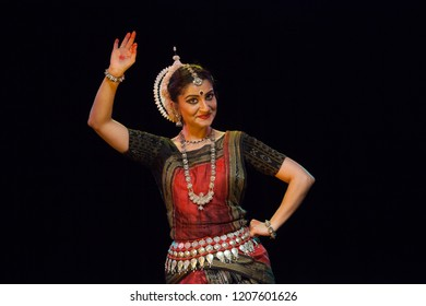 A highly talented junior Odissi dancer looking at the lord's mischief during the Odissi evening recital event on October 19,2018 at Bharatiya Vidhya Bhavan in Bengaluru,India