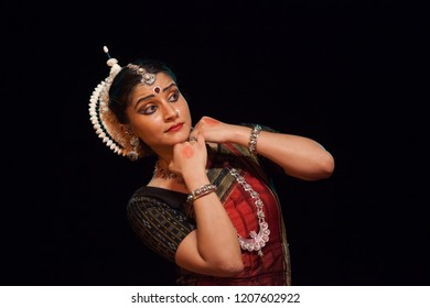A highly talented junior Odissi dancer is anxious to see the lord during the Odissi evening recital event on October 19,2018 at Bharatiya Vidhya Bhavan in Bengaluru,India