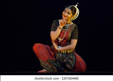 A highly talented junior Odissi dancer looks at the lord adoringly during the Odissi evening recital event on October 19,2018 at Bharatiya Vidhya Bhavan in Bengaluru,India