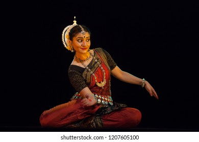 A highly talented junior Odissi dancer plays with water during the Odissi evening recital event on October 19,2018 at Bharatiya Vidhya Bhavan in Bengaluru,India