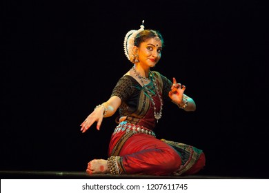 A highly talented junior Odissi dancer looks at a beautiful deer during the Odissi evening recital event on October 19,2018 at Bharatiya Vidhya Bhavan in Bengaluru,India