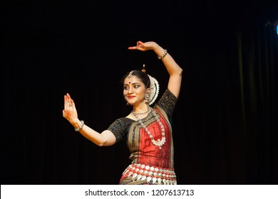 A highly talented junior Odissi dancer looks at the mirror during the Odissi evening recital event on October 19,2018 at Bharatiya Vidhya Bhavan in Bengaluru,India