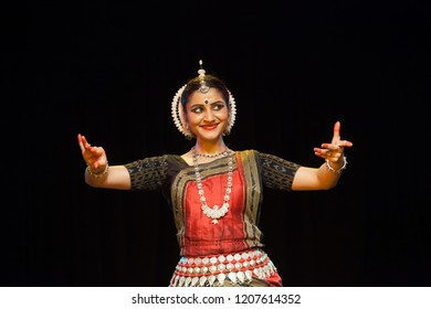 A highly talented junior Odissi dancer laughs at the lord's pranks during the Odissi evening recital event on October 19,2018 at Bharatiya Vidhya Bhavan in Bengaluru,India