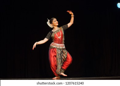 A highly talented junior Odissi dancer dances in the moonlight during the Odissi evening recital event on October 19,2018 at Bharatiya Vidhya Bhavan in Bengaluru,India