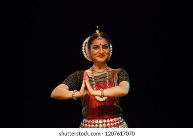 A highly talented junior Odissi dancer bids goodbye to the crowd during the Odissi evening recital event on October 19,2018 at Bharatiya Vidhya Bhavan in Bengaluru,India