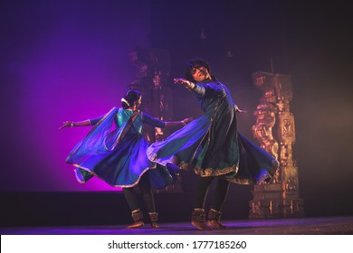 Highly talented kathak dancers perform for 'kathak recital event' held on march 29,2018 at Sevasadan hall in Bengaluru,India