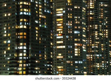 highly-detailed night windows pattern of modern metropolis, Tokyo, Japan