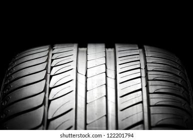 High-performance summer tire for sport cars. Studio shot.
