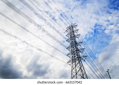 High-power poles, sky-wide.