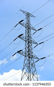 High-power tower Power transmission system.High voltage transmission line.high voltage pole Power transmission system With sky background image. High-voltage tower at blue sky background