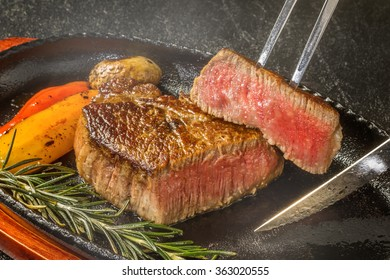High-quality  beef steak with a feeling of sizzle