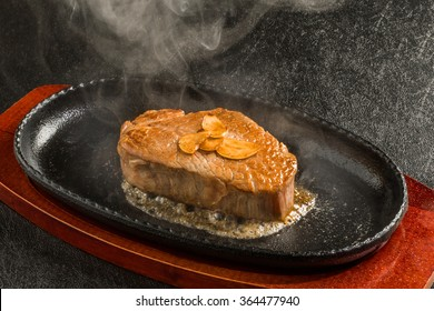high-quality Japanese beef steak sizzle