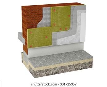 High-quality rendering masonry insulated with rock wool isolated on a white background