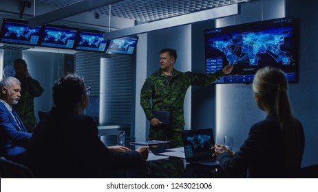 High-Ranking Military Man holds a Briefing to a Team of Government Agents and Politicians, Shows Satellite Surveillance Footage.