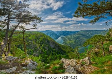 High-Resolution Panorama from Banjska Stena viewpoint over Drina River in Tara National Park of Serbia