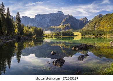 High-resolution panorama of the lake in the Julian Alps, Italy