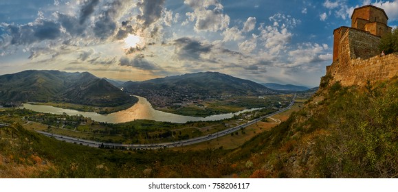 High-Resolution Sunset Panorama of Mtsketa from Jvari Monastery
