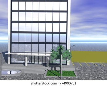 high-rise building 3D rendering