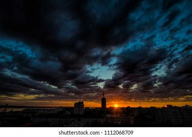 High-rise building against the background of the evening sky and sunset. Russia, Arkhangelsk