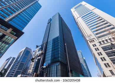 """High-rise building in the business area of Tokyo """"Otemachi""""."""
