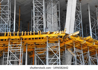High-rise building construction site work with scaffolding