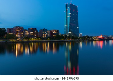 High-rise building in Frankfurt, Germany, at night