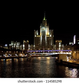 High-rise building on Kotelnicheskaya embankment in Moscow at night, Russia