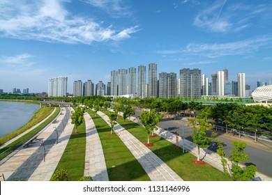 High-rise building on the riverside, Nanjing, China.