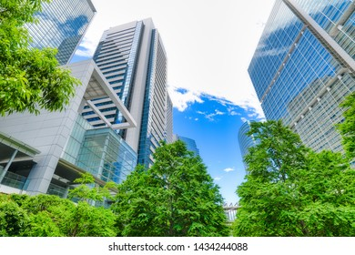 High-rise buildings and blue sky Shinagawa, Tokyo, Japan