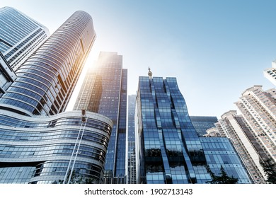 High-rise buildings in the financial district of the city, Qingdao, China.