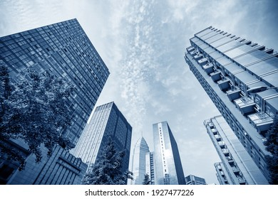 High-rise buildings in the financial district of the city, Shaoxing, China.