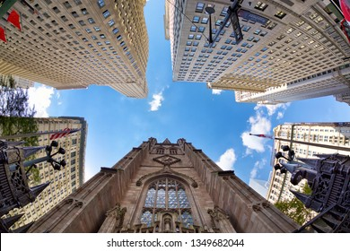 Highrise buildings in financial district New York City