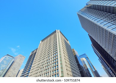 High-rise buildings of fine weather -  Marunouchi and Otemachi , Tokyo, Japan