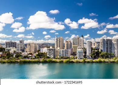 High-rise buildings seen from Condado Beach San Juan, Puerto Rico.