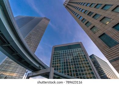 High-Rise buildings in Tokyo near Higashi-Shimbashi Area. Minato Ward