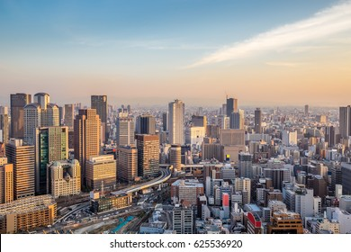 Highrise cityscape crowded skyscrapers offices apartments panorama Osaka Japan