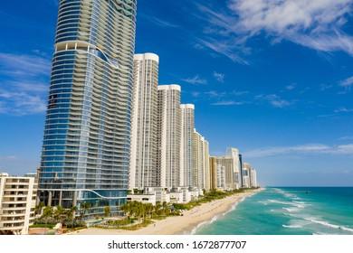 Highrise condominiums on Sunny Isles Beach FL