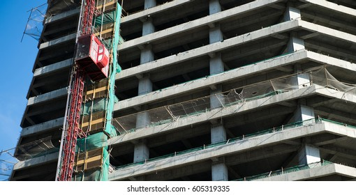 highrise construction site with scaffolding.