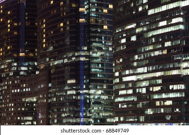 Highrise modern building at night