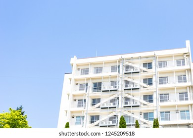 High-rise residential and blue sky