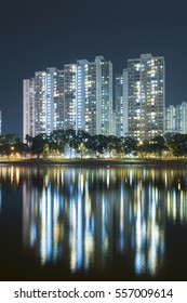 highrise Residential building in Hong Kong city at night