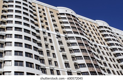 high-rise residential buildings, balconies, view, texture, lifestyle, blue sky