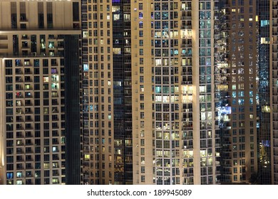 Highrise residential buildings facade in the city of Dubai, UAE