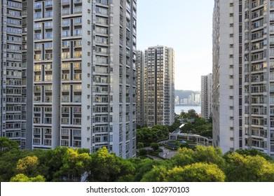 High-rise residential buildings in Hong Kong