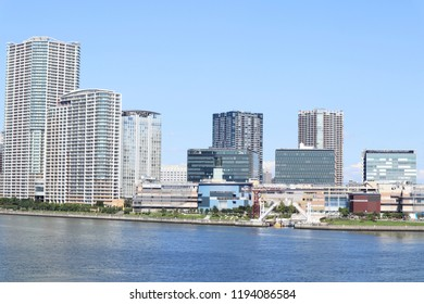 High-rise Tower Mansions Buildings and Waterway, At Toyosu, Tokyo