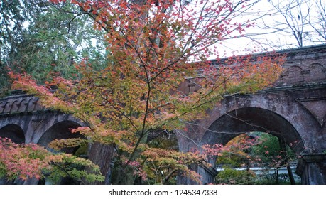 The high-rise waterway structure with autumn leaves at Nanzen-ji