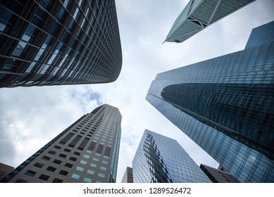 Highrises in San Francisco's Financial District, photographed from a low angle for dramatic perspective