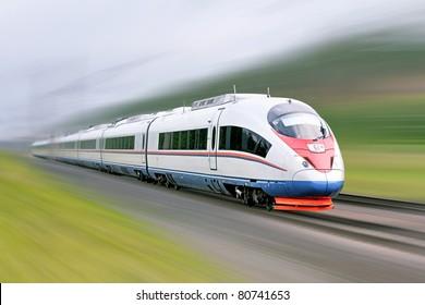 "High-speed commuter train. Modern business train. High-speed rail. Express ""Peregrine"" Russia. Train ""Sapsan"""